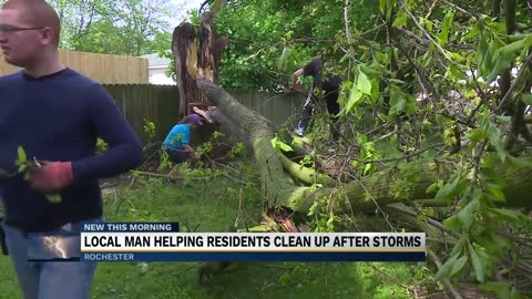 Community members clean up Rochester after Thursday's storms